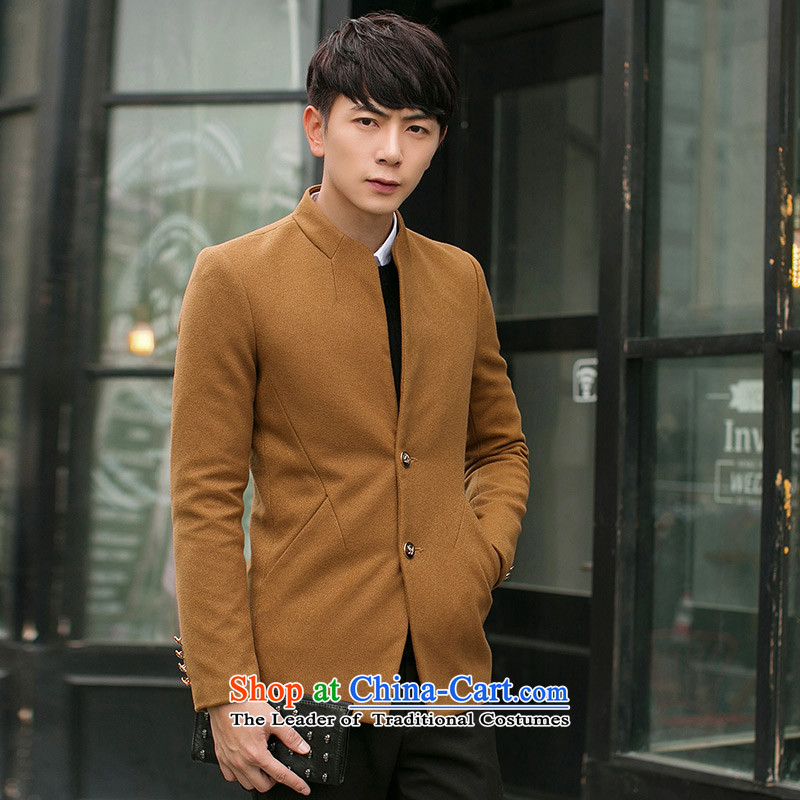 The first _ZUNSHOU extreme_ 2015 autumn and winter, Tang Dynasty Chinese tunic male Korean Sau San collar jacket coat male?3306 khaki?2XL