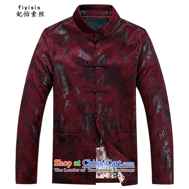 Princess in Chinese Yi Tang dynasty autumn and winter collar long-sleeved men father in the national costumes of the elderly with T-shirt grandfather festive Tang dynasty men's loose coat and deep red cotton coat?190