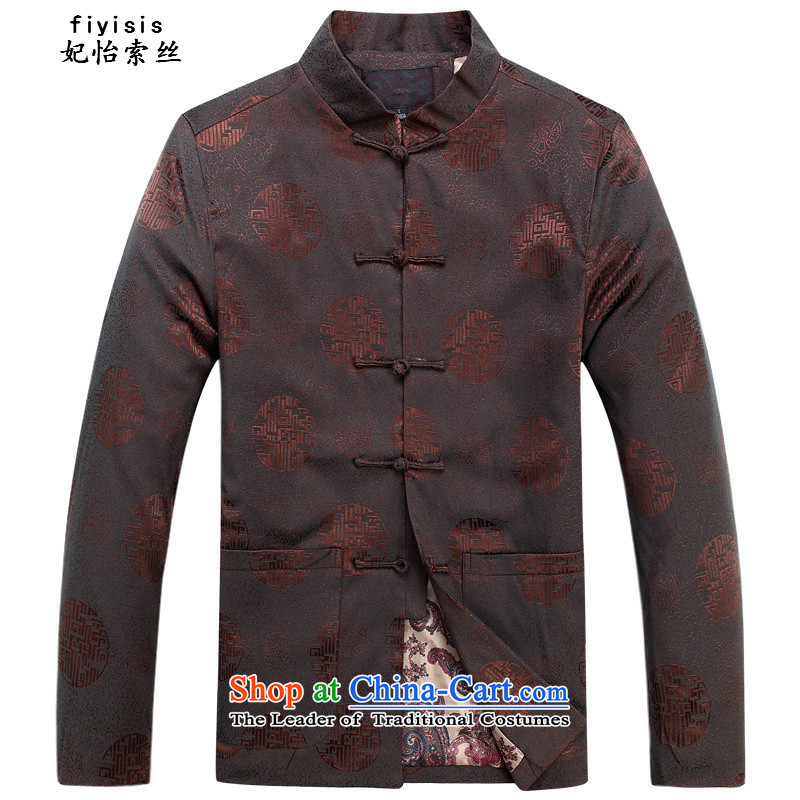 Princess in Chinese Yi Tang dynasty autumn and winter collar long-sleeved men father in the national costumes of the elderly with T-shirt grandfather festive joy of Tang Dynasty round coffee color cotton coat?185