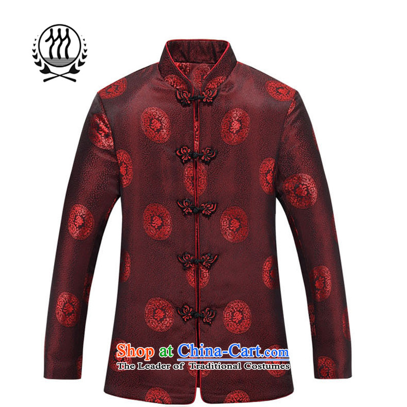 Thre line autumn and winter and the new elderly couples well clip cotton Tang China wind jacket, golden marriage between men and women's birthday of the Tang dynasty ?t��a F88030 deep red women?170 female)
