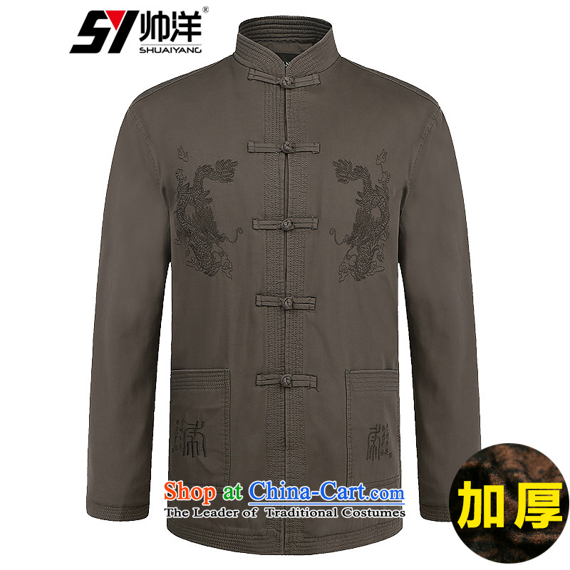 In older men Tang China Wind Jacket cotton spring and autumn jacket l Chinese clothing聽_winter_ deep card its聽180