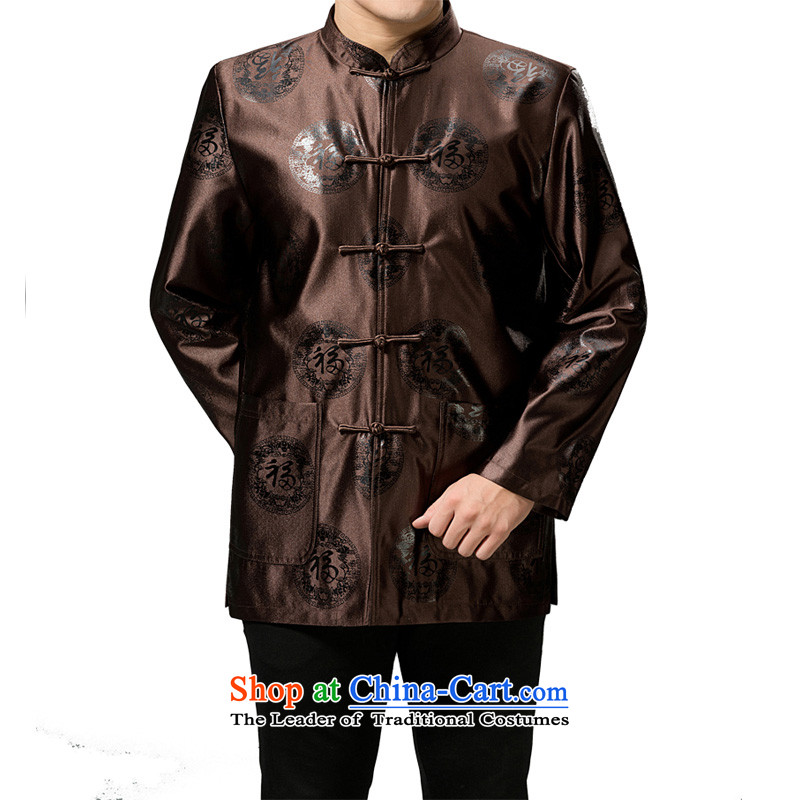 The Rafael Hui Kai 2015 Winter New Tang dynasty in Tang Dynasty father load older festive holiday cotton jacket Chinese robe 13190 Brown_cotton 170_M_