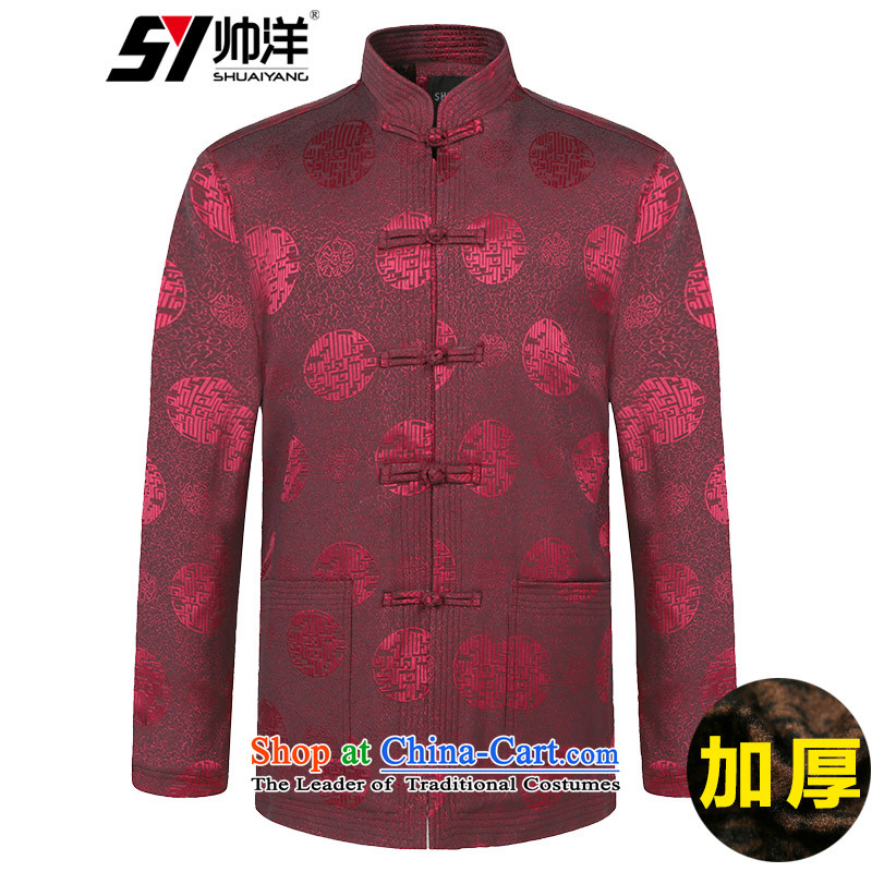 Winter clothing New Men Tang dynasty cotton waffle warm wind Chinese men's jackets in older robe wine red 180
