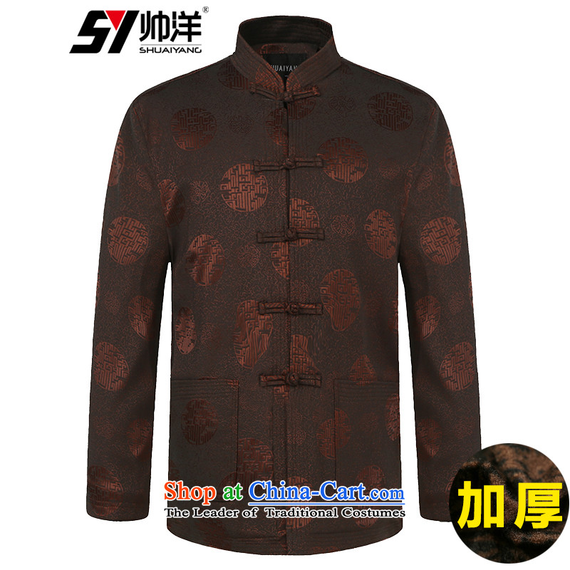 Winter clothing New Men Tang dynasty cotton waffle warm wind Chinese men's jackets in older robe wine red聽180, yang (Shuai SHUAIYANG) , , , shopping on the Internet