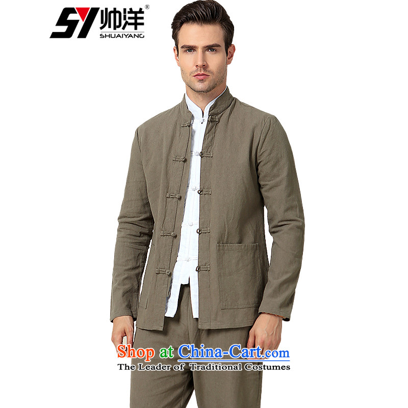New cotton linen Sau San Tong load men kit plus long-sleeved shirt trousers set of China wind collar Chinese men detained retro slow disk load life long-sleeved color (pickled long pants) 180