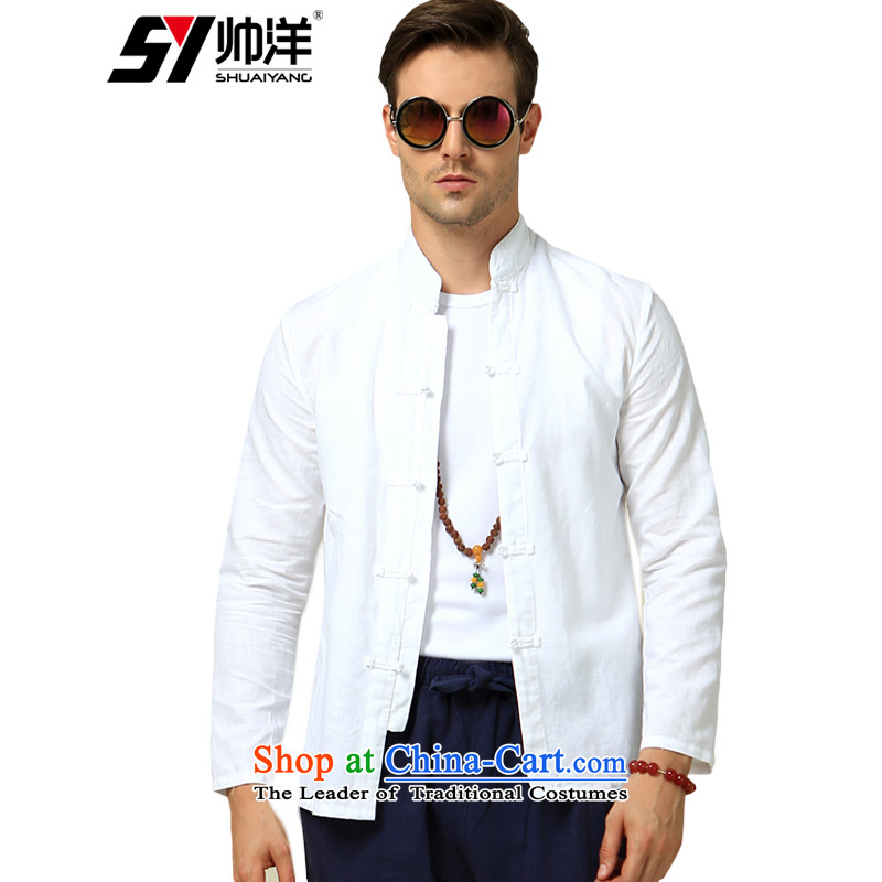 Sau San cotton linen, forming the Tang Dynasty Men's Mock-Neck Shirt China wind men's shirts national costumes Chinese minimalist white shirt 180