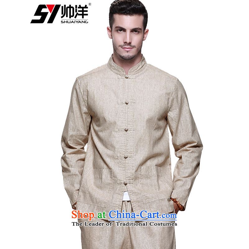 New linen men Tang Dynasty Package China wind men's jackets and pants Tang set of Chinese leisure loose version male m long-sleeved yellow _long pants_ 165