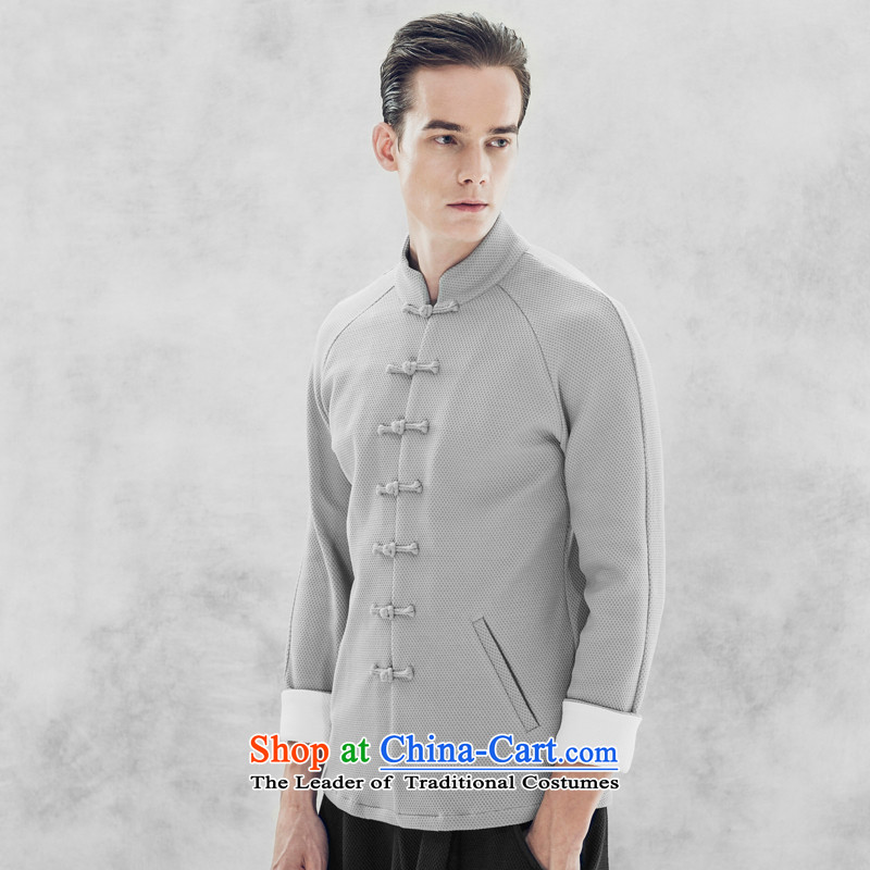 Seventy-tang China wind men Tang long-sleeved jacket retro men 2015 autumn and winter clothes Chinese Disc deduction of the trendy national costumes gray?XL