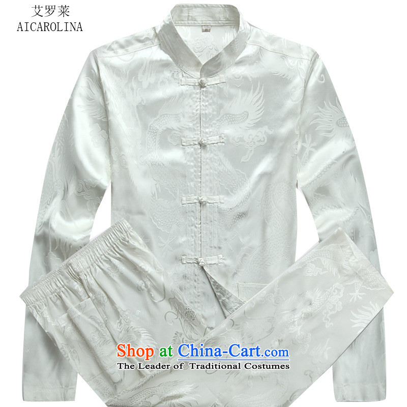 Hiv Rollet fall of Chinese long-sleeved men of autumn and winter in older men Tang blouses white kit?M