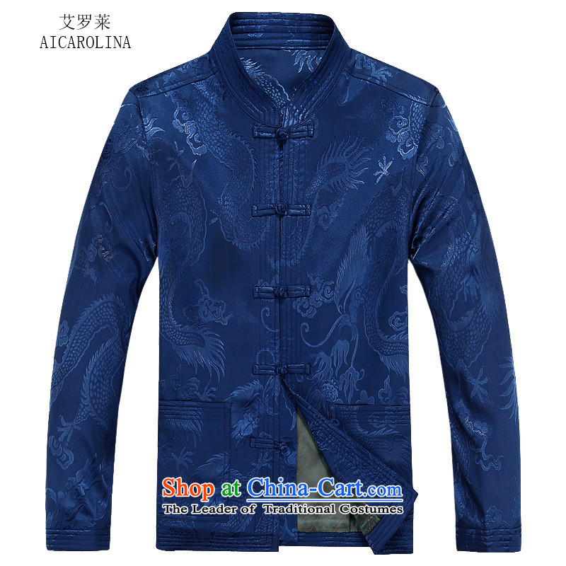 Hiv Rollet new long-sleeved blouses from older Tang Man Leisure Autumn Chinese clothing blue shirt?L