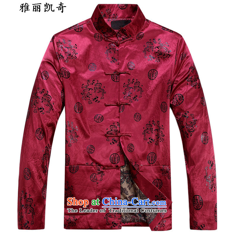 Alice Keci older Tang jacket with cotton coat grandfather autumn replacing men's national costumes of older persons birthday dress Tang dynasty red red cotton service long-sleeved top�175