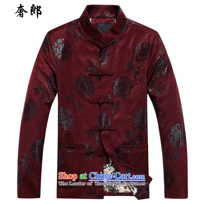 The luxury health China wind men Tang Dynasty Chinese men too long-sleeved gown Soo red jacket ball-service improvement leisure Han-Tang dynasty men's father replacing Hee-ryong, Crimson Red cotton coat?170