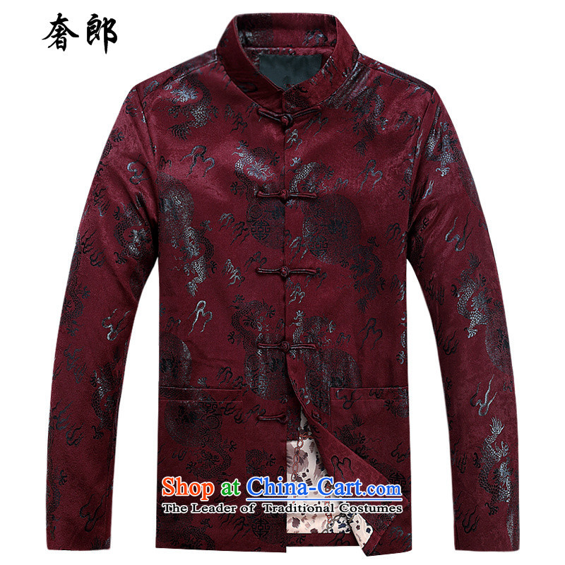 The luxury of health of older persons in the Tang Dynasty Men long-sleeved shirt Chinese middle-aged men's Han-costume father grandfather autumn jackets men over the life jackets Tang dynasty crimson red cotton coat 185