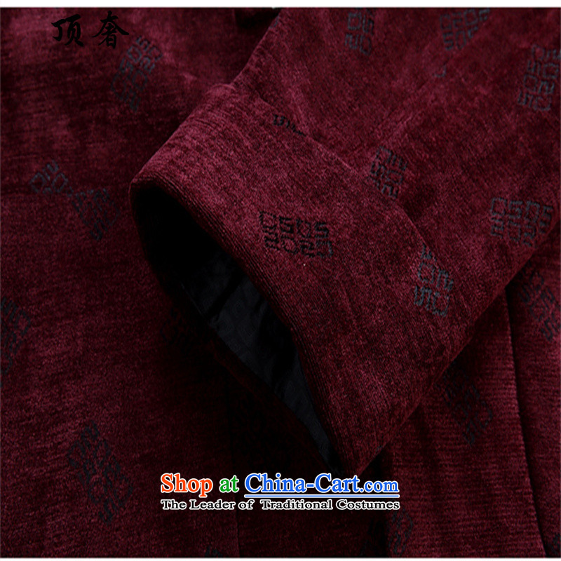 Top Luxury China wind Fall/Winter Collections of older persons in the Tang Dynasty Men long-sleeved birthday too Shou Chinese dress jacket Han-disc detained Men's Shirt red T-shirt聽170, top luxury shopping on the Internet has been pressed.
