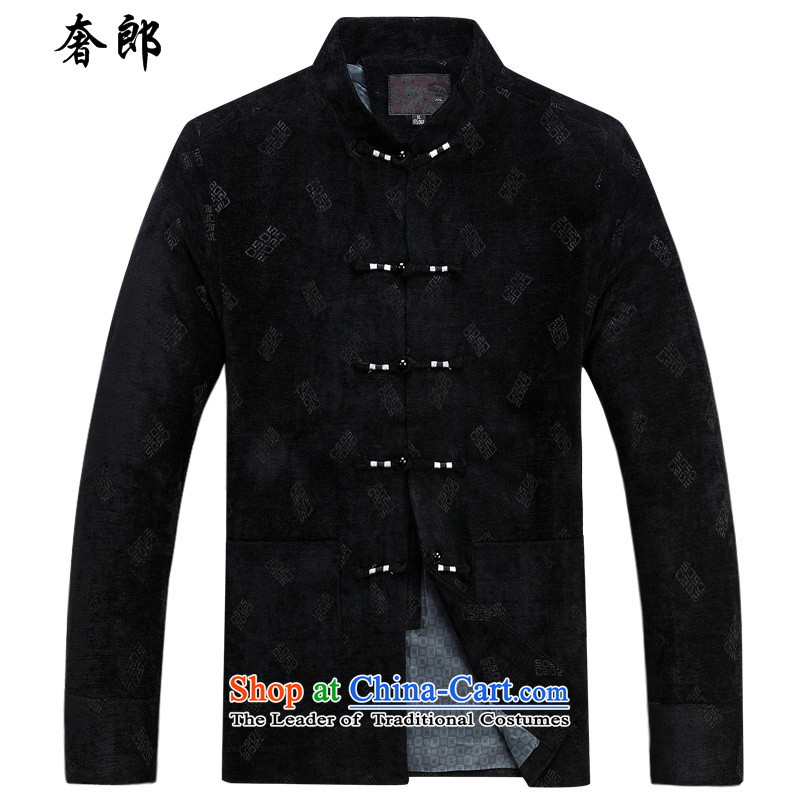 The luxury Health�2015 autumn and winter in the new elderly Chinese men's jackets men Tang dynasty long-sleeved manually disc detained national costumes men Tang Dynasty English words of black shirt�185