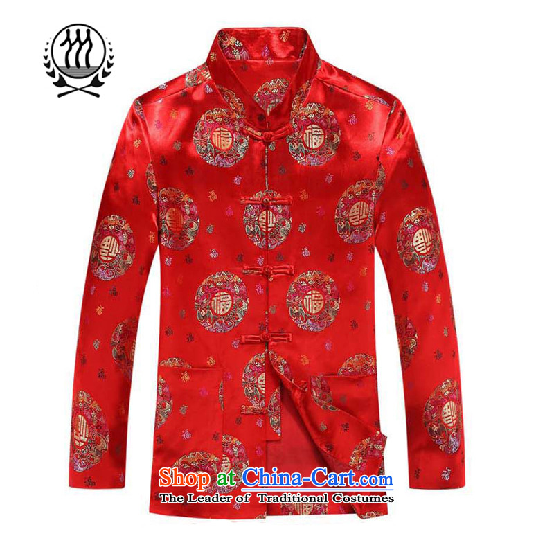 Bosnia and the fall of line thre older couples replacing Tang jacket auspicious festive China wind well field birthday wedding-dress men and women's Kim long-sleeved sweater 8809 red men?XXXL/190