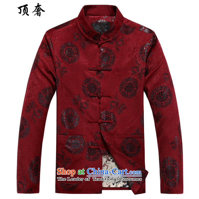 Top Luxury?2015 autumn and winter new middle-aged long-sleeved jacket of ethnic male leisure collar loose single row detained Tang jackets loose collar Tang boxed version male Hee-ryong, red cotton?180