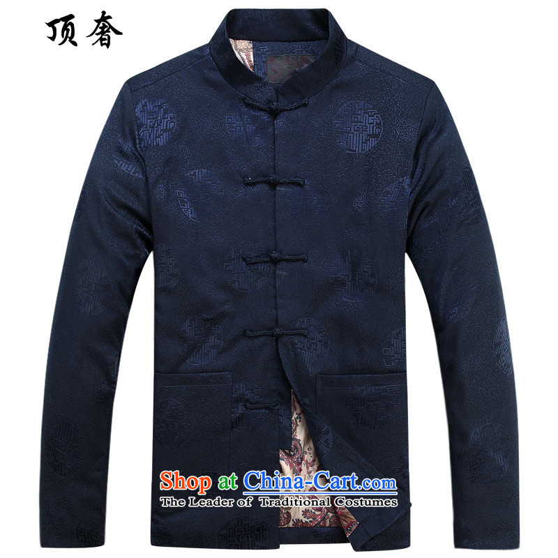 Top Luxury?2015 autumn and winter New Men Tang jackets folder cotton long-sleeved shirt cotton coat Lunar New Year Banquet wedding in addition elderly men Chinese clothing round-hi) blue cotton coat?185