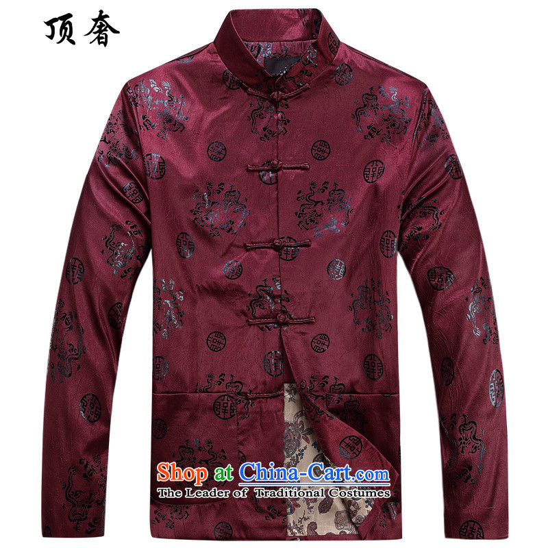 Top Luxury men in Tang Dynasty older autumn and winter Chinese Han-China wind father of ethnic collar up long-sleeved shirt clip cotton coat dad_ thick with round-lung, Crimson Red cotton coat?175