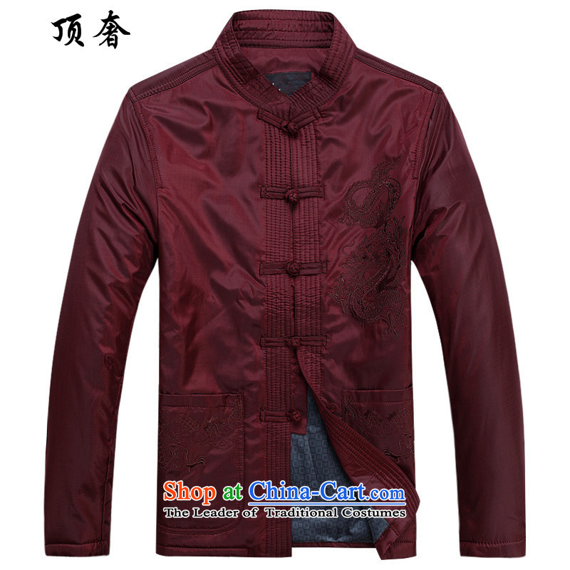 Top Luxury men Tang jacket thick coat fall_winter collections to intensify the older long-sleeved jacket Tang collar up red plus cotton jacket detained men father grandfather red cotton coat 170