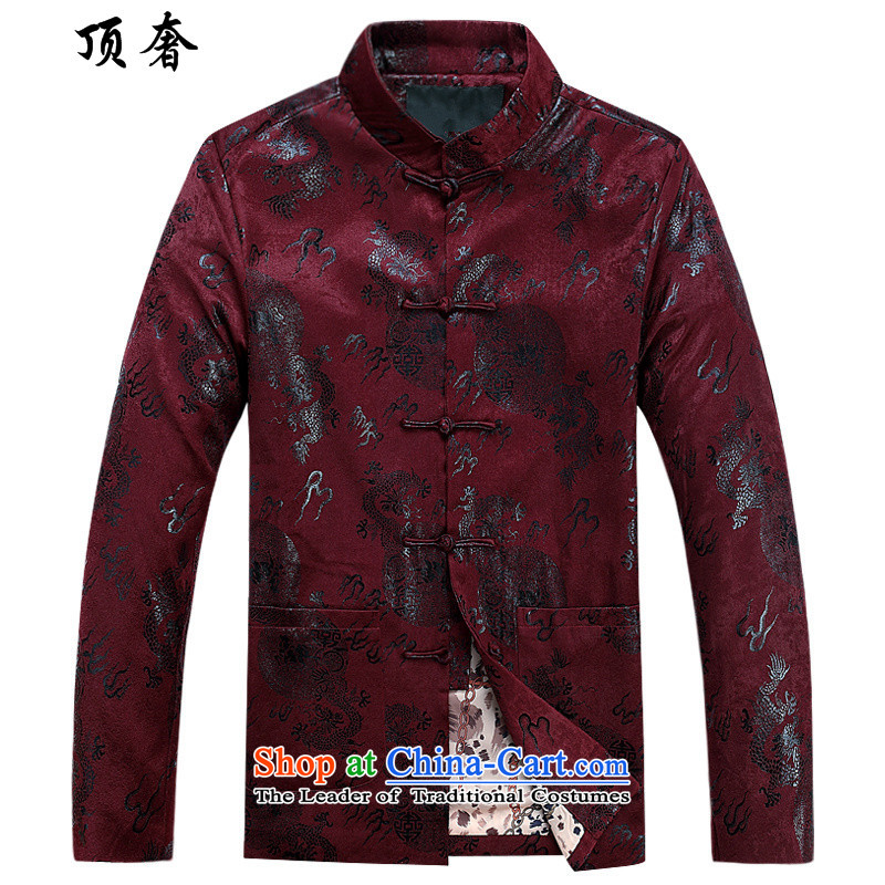Top Luxury?2015 New Men Tang jackets Long-sleeve Lunar New Year Banquet wedding in addition Chinese clothing elderly men of the golden dragon, Crimson Red cotton coat?185
