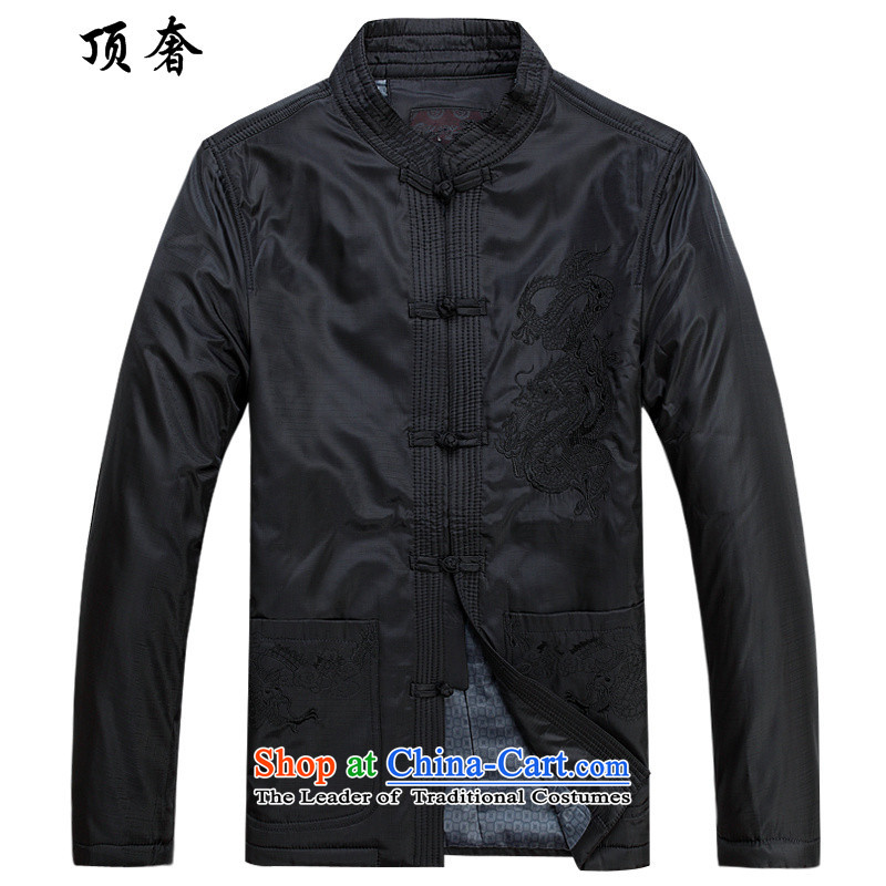 Top Luxury men Tang dynasty men of older persons in the collar up the robe life jackets men fall and winter jackets clamp black jacket embroidered male Tang Dynasty Chinese dragon, black cotton coat?175