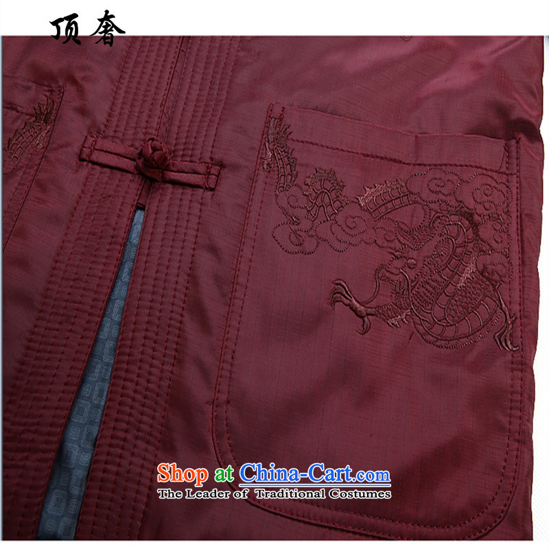 Top Luxury men Tang dynasty men of older persons in the collar up the robe life jackets men fall and winter jackets clamp black jacket embroidered male Tang Dynasty Chinese dragon, black cotton coat聽175 top luxury shopping on the Internet has been pressed