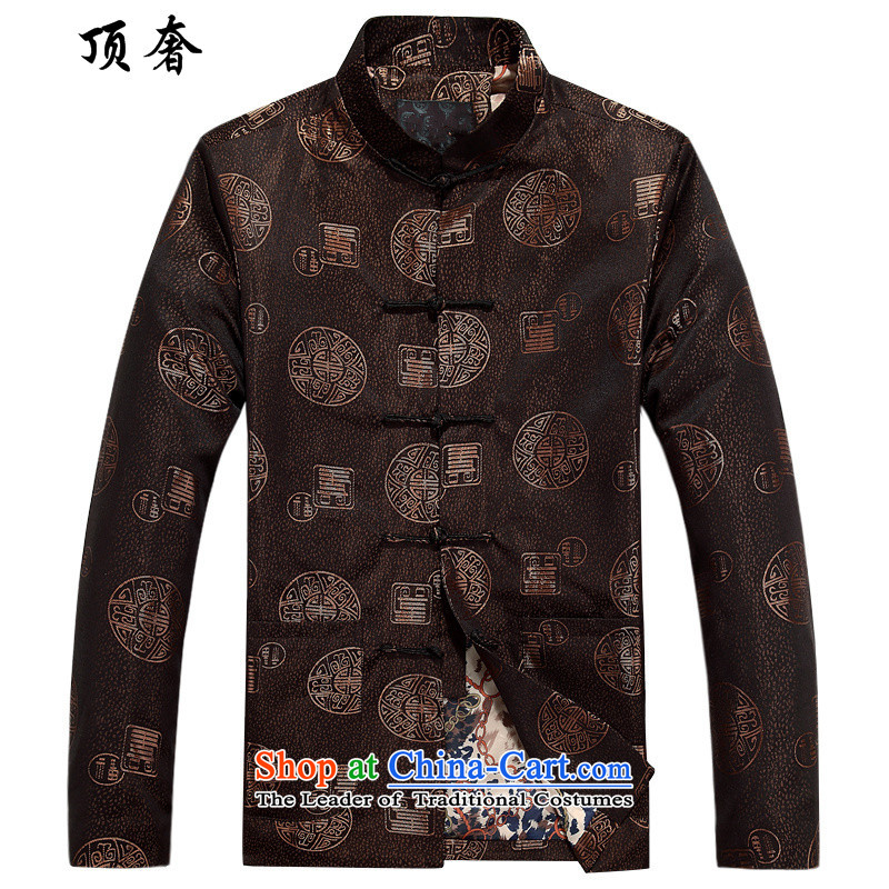 Top Luxury of older men Han-autumn and winter Tang Dynasty Chinese long-sleeved jacket and large wedding banquet Tang dynasty thick men's jackets and coffee-colored cotton coat聽170
