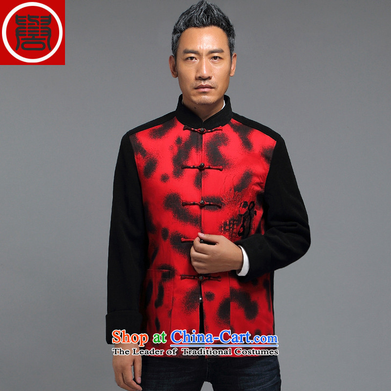 Renowned China wind Tang Dynasty Chinese men's long-sleeved jacket in elderly men casual taxi Tang dynasty autumn and winter coats red?L