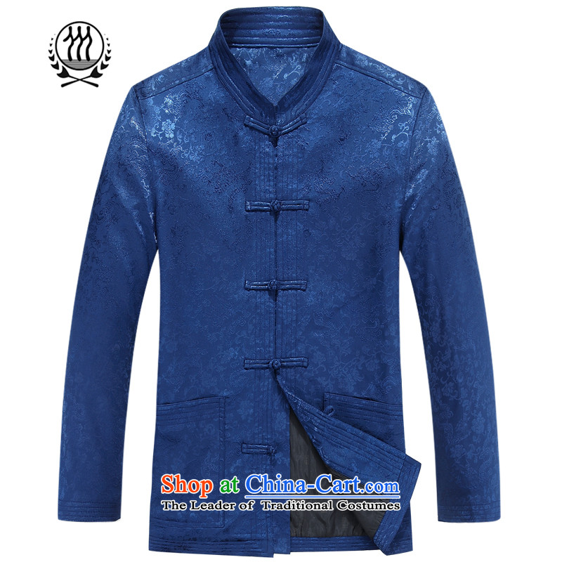 聽2015 Autumn thre line and older men stamp Tang Gown long sleeve jacket coat of ethnic Chinese collar disc loading聽F8802 dad detained聽Blue聽M_170