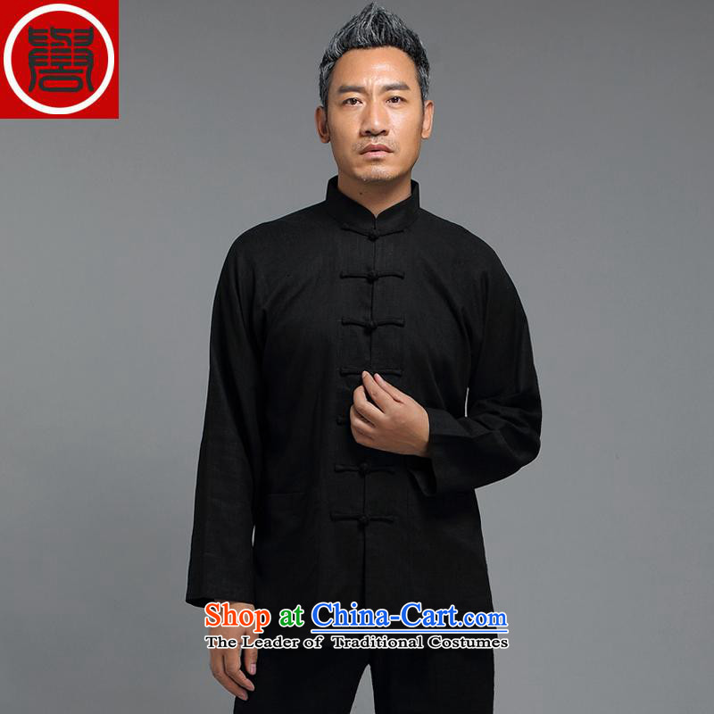 Renowned Tang Dynasty Chinese men and boys autumn long-sleeved sweater collar China wind men disc detained Chinese shirt improved Han-black?3XL
