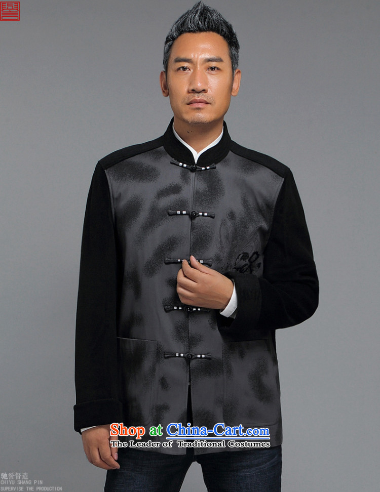 Renowned China wind men Tang Dynasty Chinese men and a long-sleeved jacket in elderly men casual taxi Tang dynasty autumn and winter coats black聽4XL Photo, prices, brand platters! The elections are supplied in the national character of distribution, so action, buy now enjoy more preferential! As soon as possible.