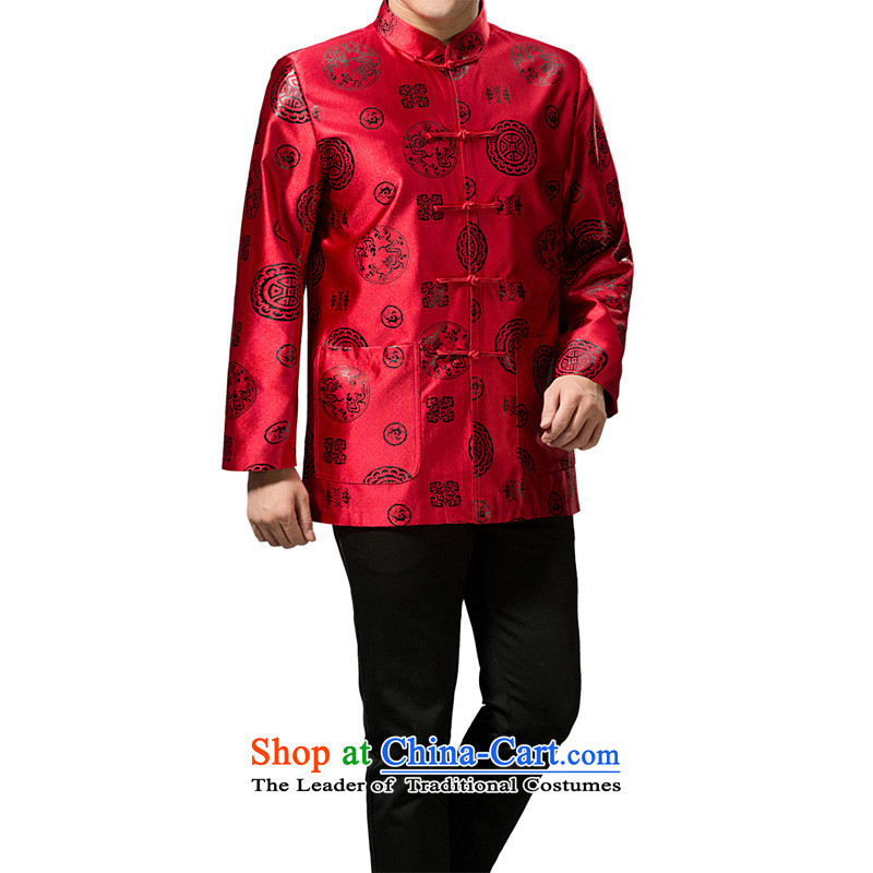 The Rafael Hui Kai 2015 winter clothing new Tang dynasty in Tang Dynasty father load older Happy Birthday Feast cotton jacket Chinese robe 13191 red/cotton?180/XL)