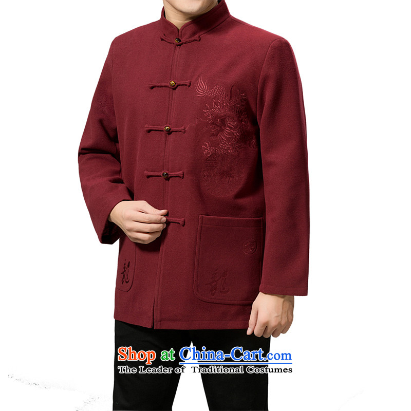 Mr Rafael Hui Kai winter new Timor_ Tang dynasty older men and winter clothing new wool? Tang dynasty collar thick coat Chinese father replacing 13192 Mauve_thick hair�5_L?