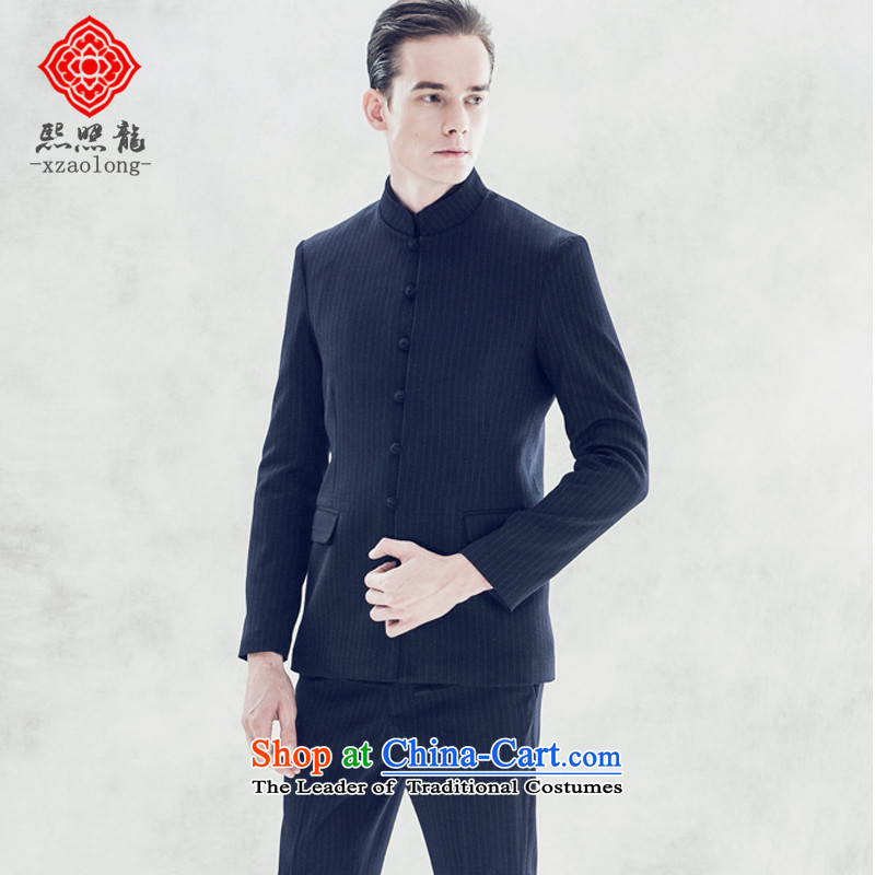 Hee-Snapshot Lung Men's Mock-Neck small business suit Chinese China wind streaks Chinese tunic groom dresses Sau San men youth blue?S