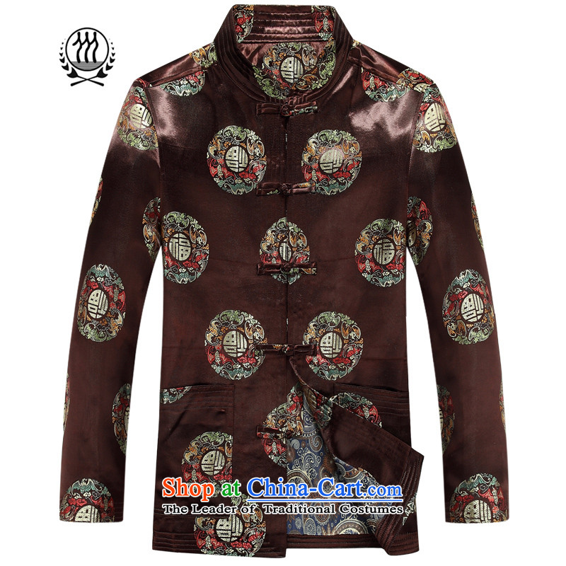 Bosnia and thre line China wind autumn in New elderly welfare field long-sleeve sweater Tang Dynasty Chinese collar disc detained men Tang jacket with brown?L/175 F88012 Dad