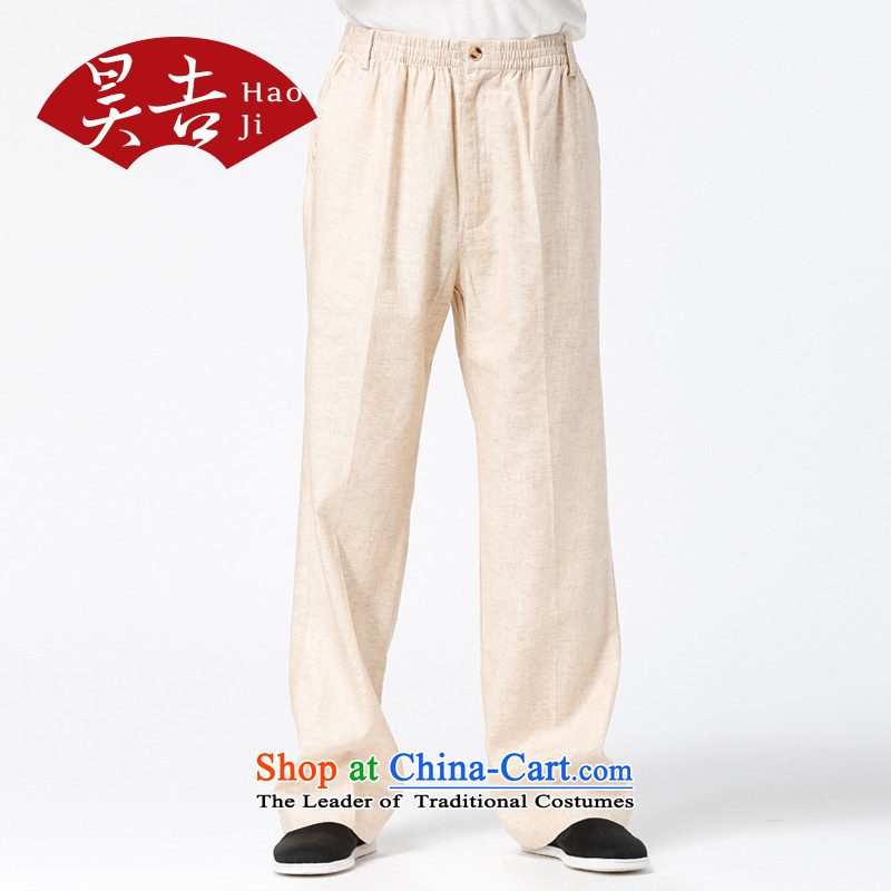Ho Chi men older cotton linen trousers with elastic older persons fall waist with a straight Tang pants father boxed beige 175