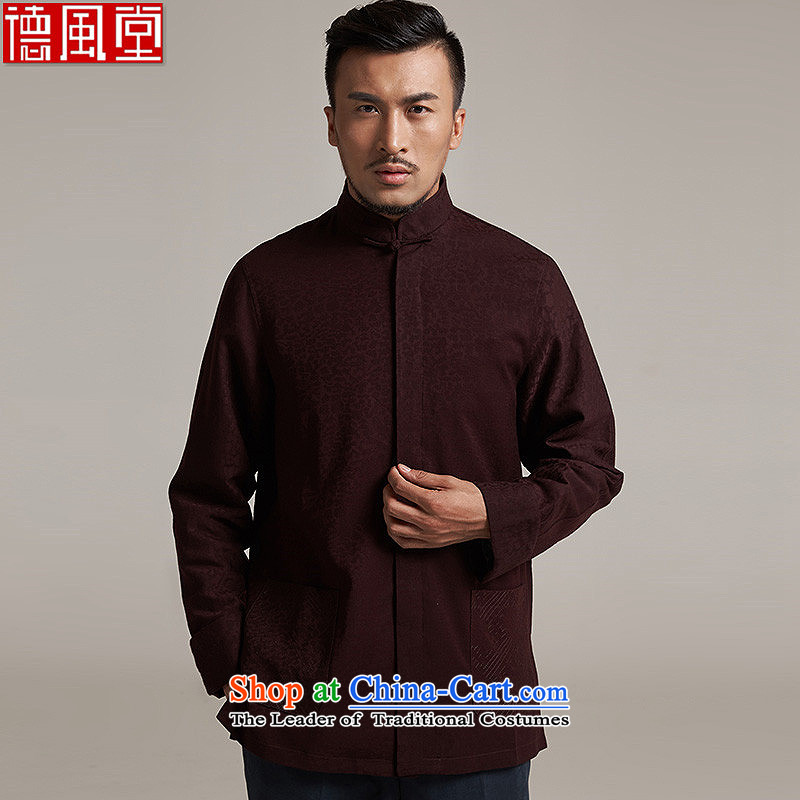 Fudo Jin-hui Tak 2015 autumn and winter new products men Tang dynasty China wind men's jackets older leisure jacket China wind aubergine M