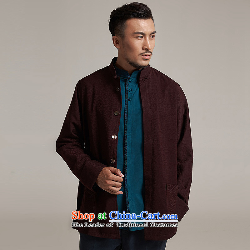 Fudo Jin-hui Tak 2015 autumn and winter new products men Tang dynasty China wind men's jackets older leisure jacket China wind aubergine M de fudo shopping on the Internet has been pressed.