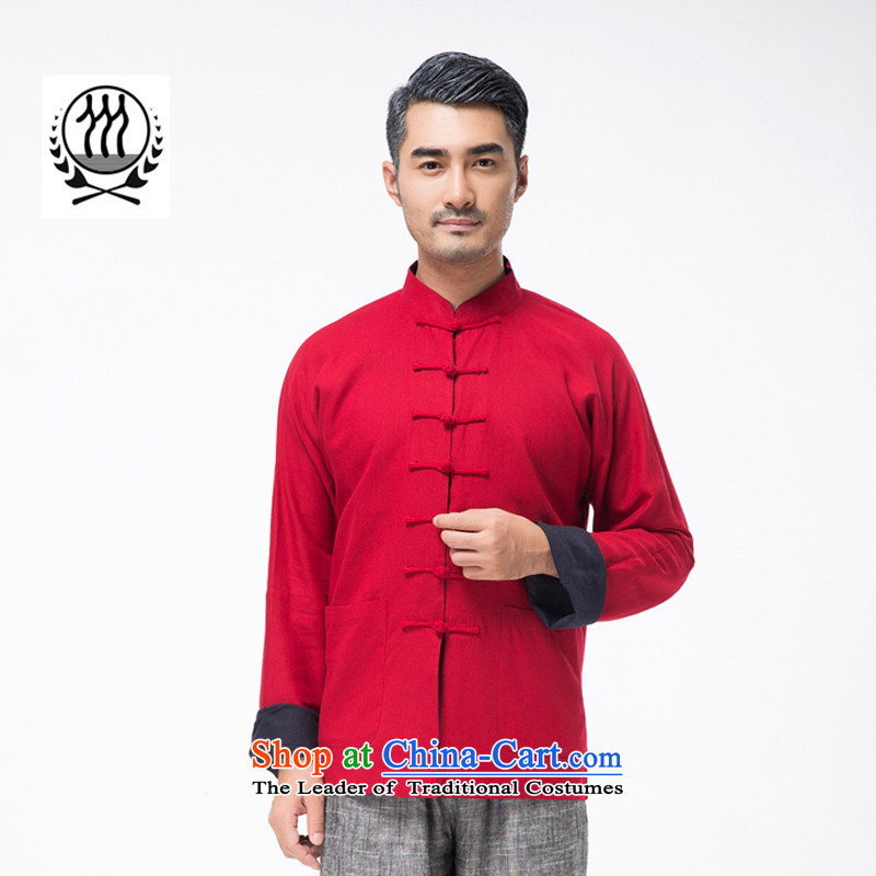 New line thre Bosnia and genuine men on both sides of the Tang dynasty wearing long-sleeved sweater in older Chinese collar solid color cotton linen spring and autumn, Tang dynasty TZ-305  XL/180 red