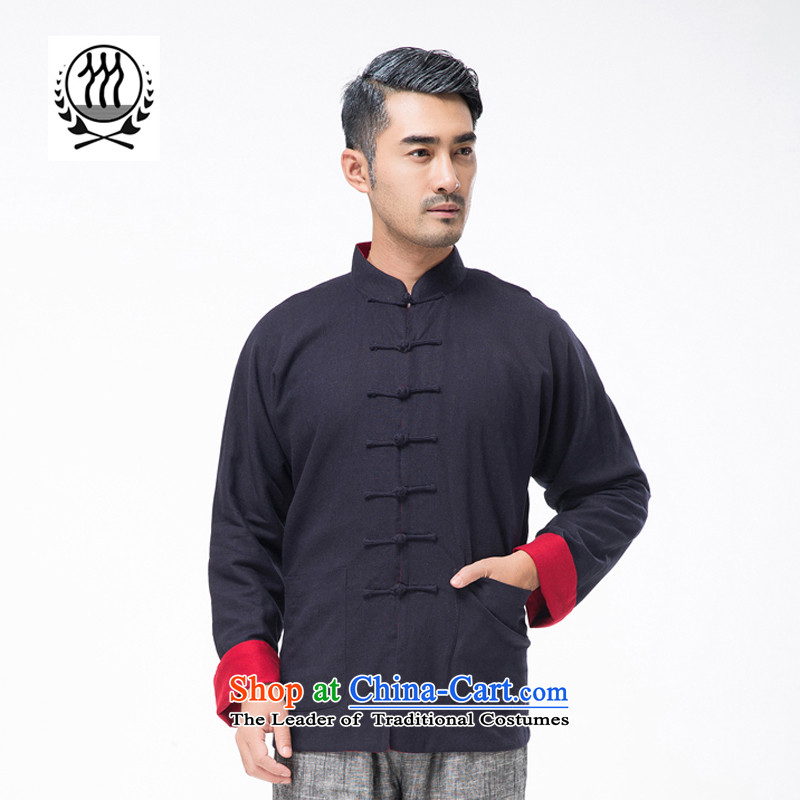 New line thre Bosnia and genuine men on both sides of the Tang dynasty wearing long-sleeved sweater in older Chinese collar solid color cotton linen spring and autumn, Tang dynastyTZ-305XL/180, Red Line (gesaxing Bosnia and thre) , , , shopping on the