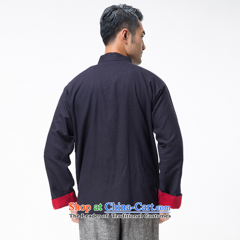 New line thre Bosnia and genuine men on both sides of the Tang dynasty wearing long-sleeved sweater in older Chinese collar solid color cotton linen spring and autumn, Tang dynasty TZ-305  XL/180, Red Line (gesaxing Bosnia and thre) , , , shopping on the