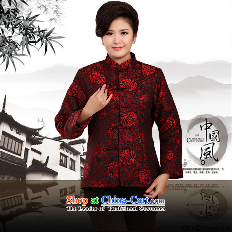 The Rafael Hui Kai 2015 Winter New Tang Tang Dynasty outfits in older golden marriage birthday celebration of the birthday of the cotton jacket A13183 Tang Bourdeaux 185 cotton folder_