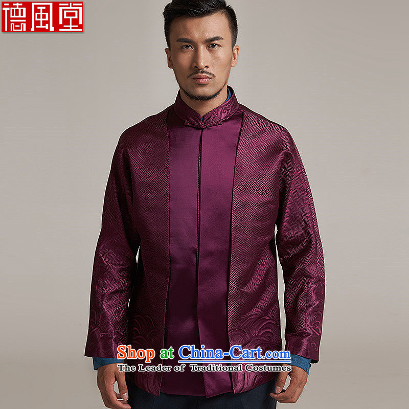 In the wind and the New China wind load Men's Jackets Tang dynasty 2015 autumn and winter long-sleeved father with shoulder middle-aged Chinese clothing aubergine?3XL Embroidery