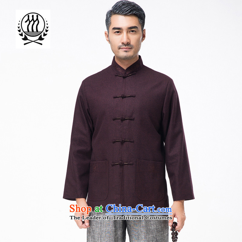 Bosnia and genuine line thre autumn and winter New Solid Color men embroidery gross? Tang jackets in China wind older Chinese collar father replacing Tang blouses?F9825??XL/180 aubergine