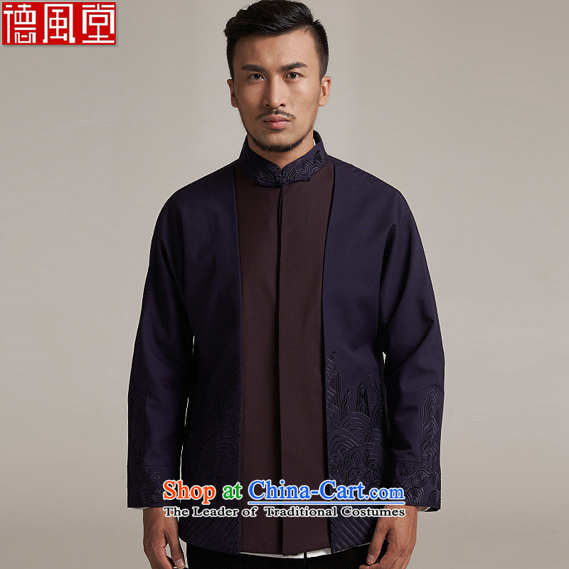 De-hsiang and Fudo China wind Men's Jackets Tang dynasty 2015 autumn and winter long-sleeved father with shoulder middle-aged Chinese clothing outside the blue embroidery in purple 3XL