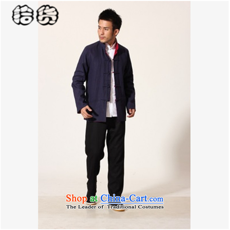 The 2015 autumn, pickup original terry creative China wind male blouses large middle-aged men Chinese on both sides of the Tang dynasty snap-wearing cotton linen coat with blue and red 180-XL Dad