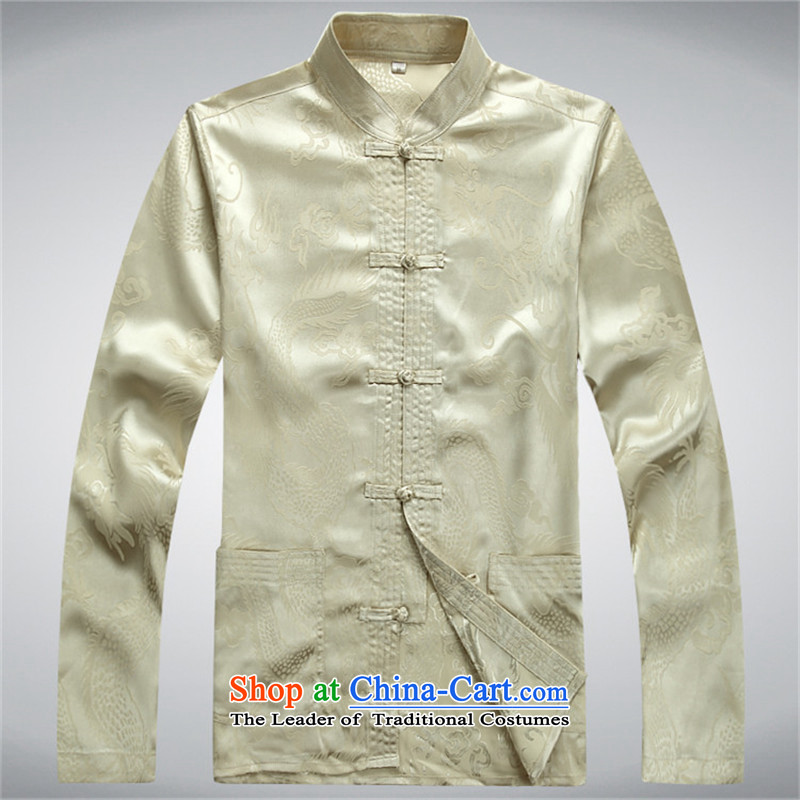 Kyung-ho covered by China wind men Tang Dynasty Chinese long-sleeve sweater men during the Spring and Autumn Period Drama Han-ball-T-shirt, beige services L