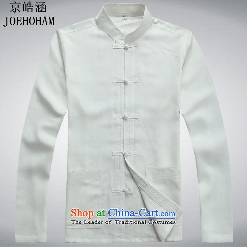 Kyung-ho covered by JOE HOHAM China wind men cotton linen jacket with long-sleeved spiritual ball-tang to loose white shirt?S