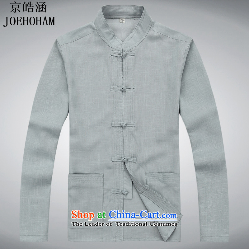 Kyung-ho covered by JOE HOHAM China wind men cotton linen jacket with long-sleeved spiritual ball-tang to loose gray T-shirt?S
